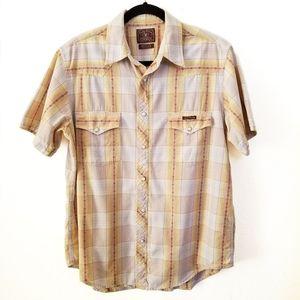 LUCKY BRAND Dungarees snap button western shirt M